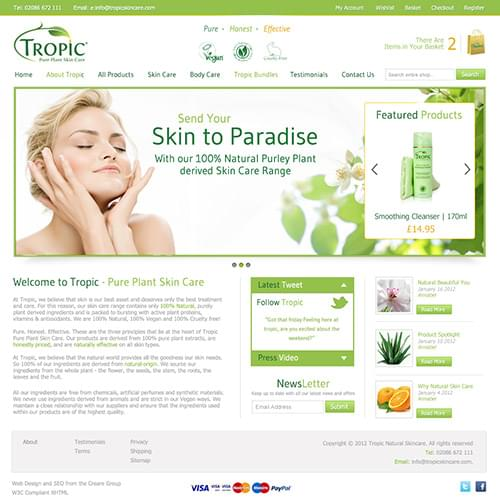 Tropic skincare home page concept
