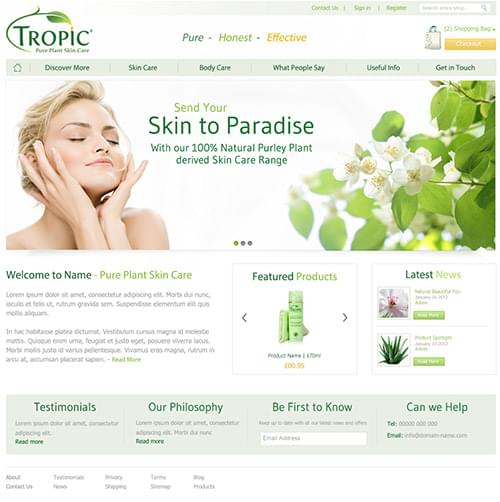 Tropic skincare alternative home page concept